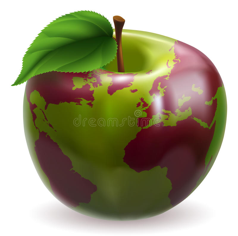 Download Apple world globe stock vector. Image of healthy, land - 22762389