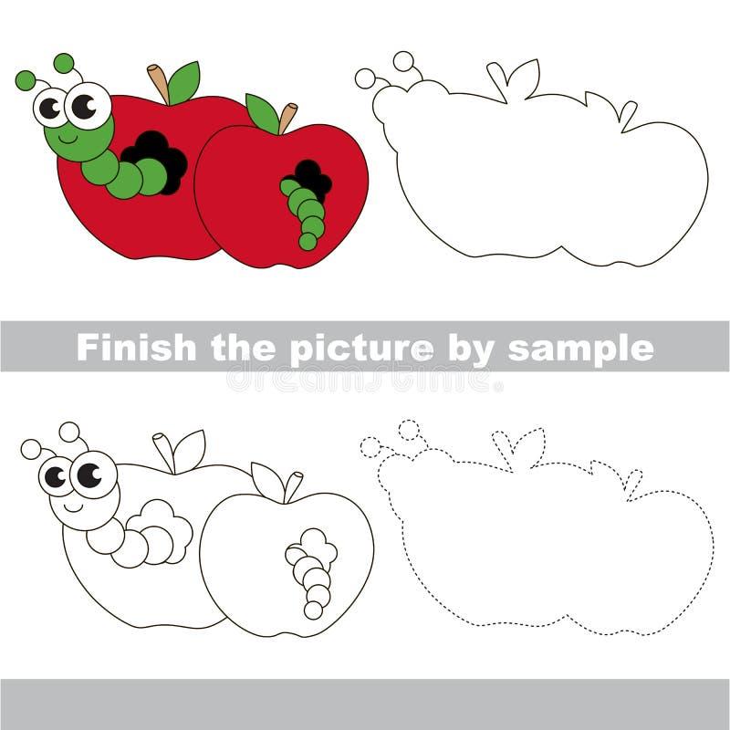 Apple worm Hoja de trabajo del dibujo libre illustration