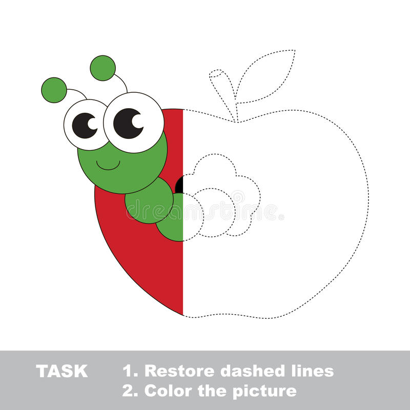 download apple worm to be colored simple vector trace game stock vector illustration - Simple Pictures To Trace