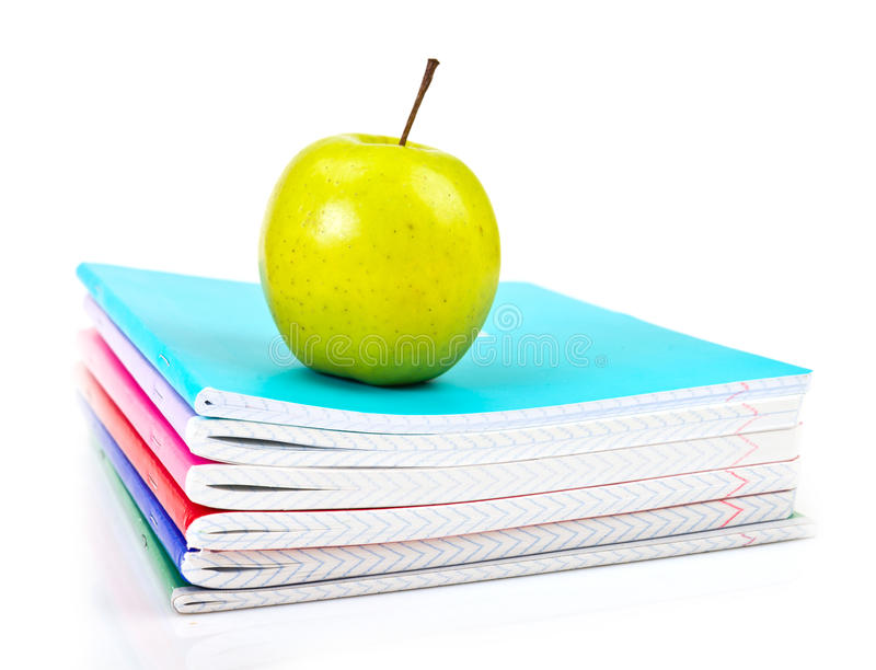 Download Apple on writing-books. stock image. Image of studying - 32921231