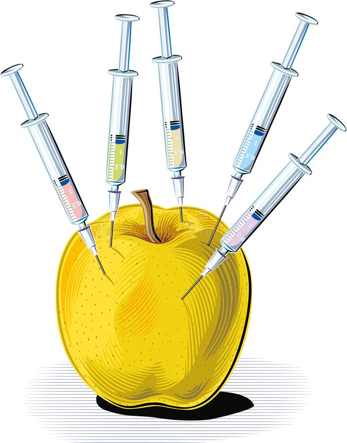 Apple wtykał z pięć strzykawkami royalty ilustracja