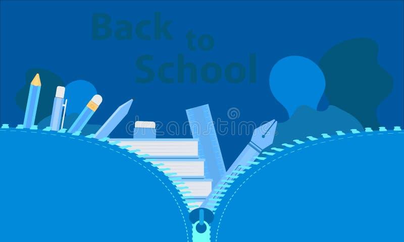 Apple y leche contra una pizarra con de nuevo al mensaje de la escuela en ?l abra el bolso grande para estudiar tiempo aprendiend libre illustration