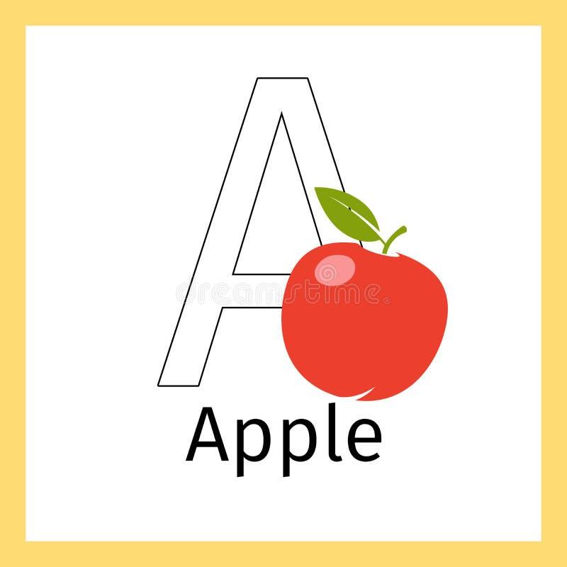 Apple Y Letra La Página Del Colorante De A Ilustración del Vector ...