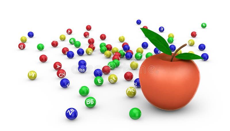 Apple y vitaminas ilustración del vector