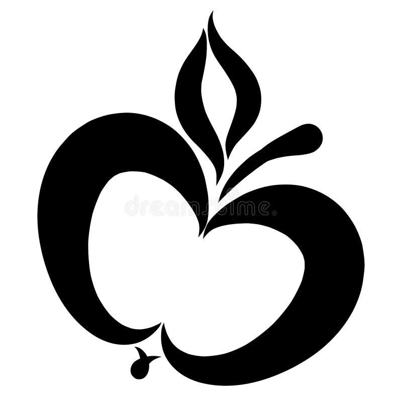 Apple z liściem, czerń wzór, kontur ilustracji