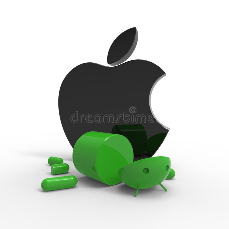 Apple-Zeichen gegen androides Zeichen. Getrennt.