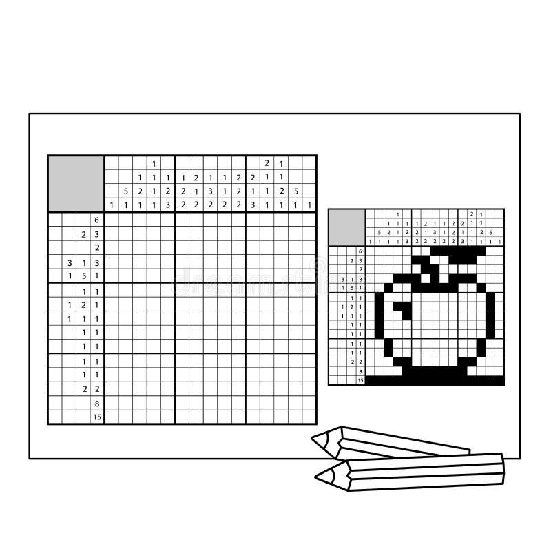 Apple Zwart-wit Japans kruiswoordraadsel met antwoord Nonogram stock illustratie