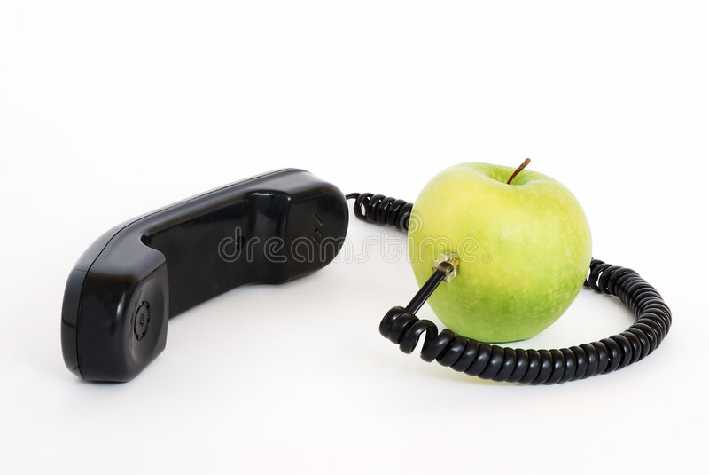apple związane zielony kabel handset obrazy royalty free