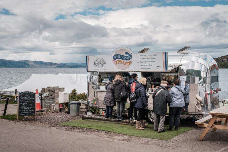 Applecross herberg-Kant uit meeneemkoffie in Schotland stock afbeeldingen