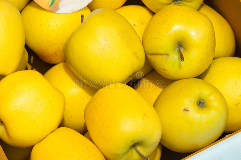 Apples. Yellow apples in a market stock photography