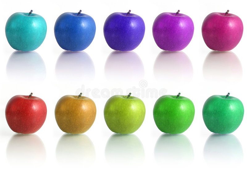 Apples. Group of apples in different colors royalty free stock image