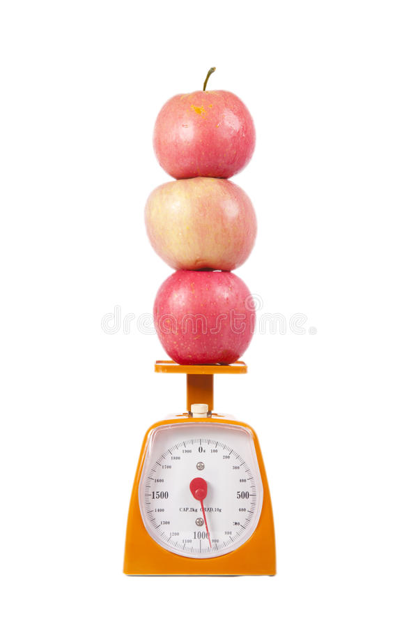 Free Apples And Weight Scale Stock Image - 20129481