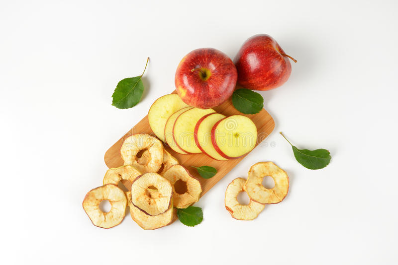 Apples and apple rings royalty free stock photo