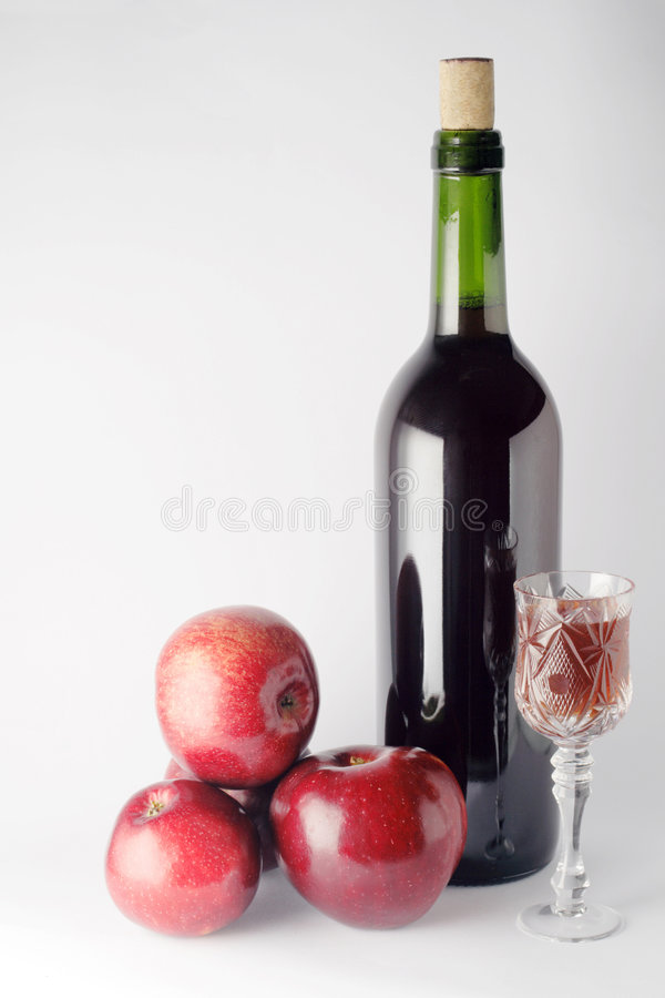 Apples and apple wine royalty free stock photography