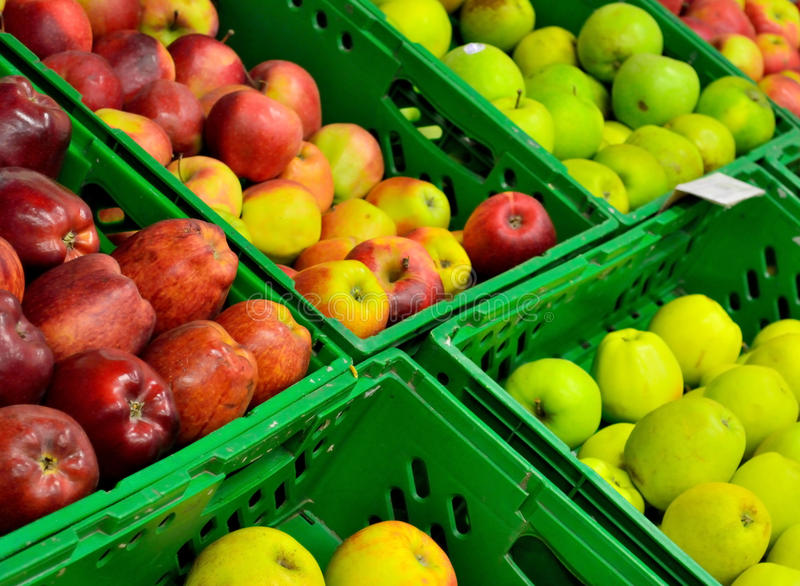 The apples in boxes stock images