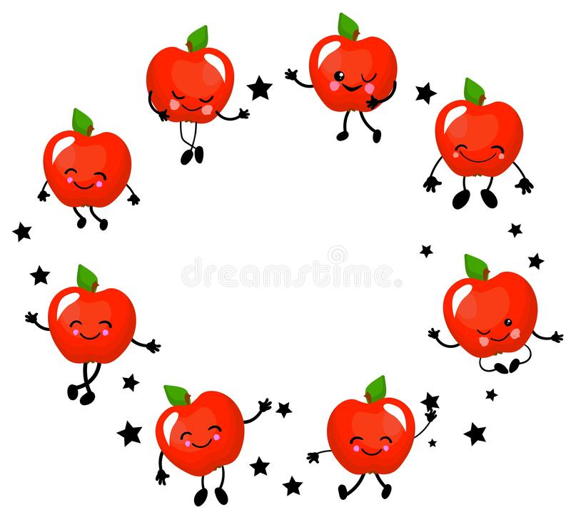 Apples characters. Funny fruits with a face and a smile. Round red apple wreath vector illustration