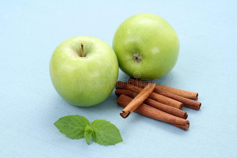 Apples and cinnamon stock image