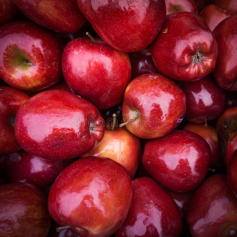 Apples close up at market. Red apples background.  stock photos