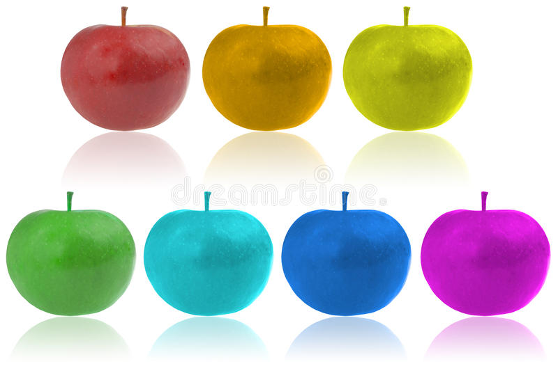 Apples. Color apples. Seven color apples royalty free stock image