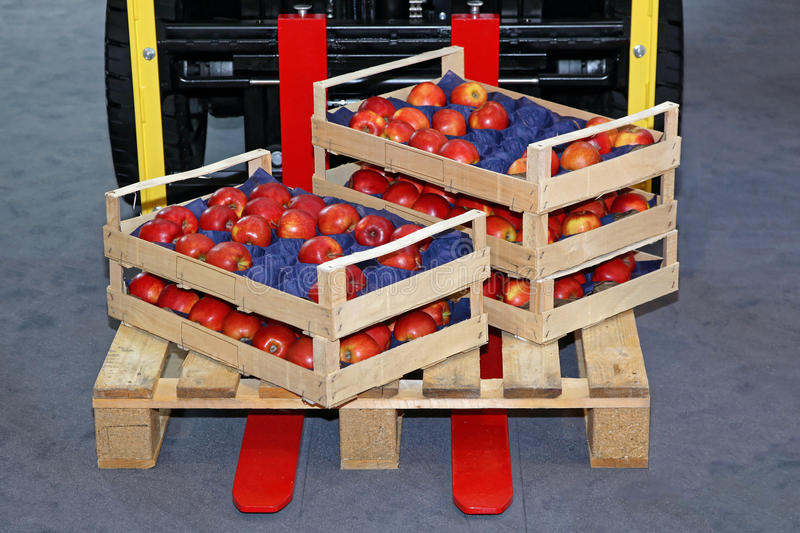 Apples in Crates. Crates With Apples at Foklift Pallet stock images