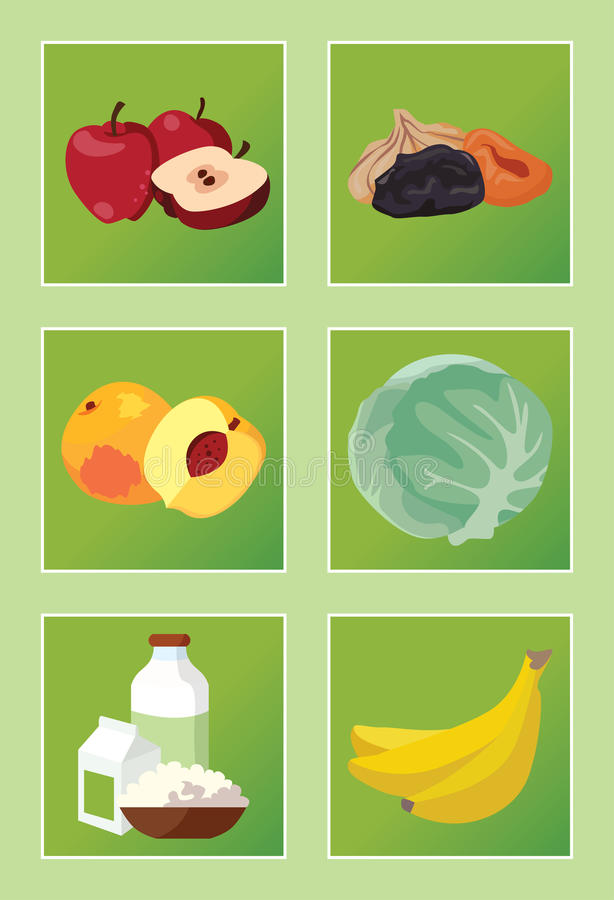 Apples, dried fruits, peaches, cabbage, dairy products, bananas. Food. Apples, dried fruits, peaches, cabbage, dairy products, bananas. For your convenience royalty free illustration