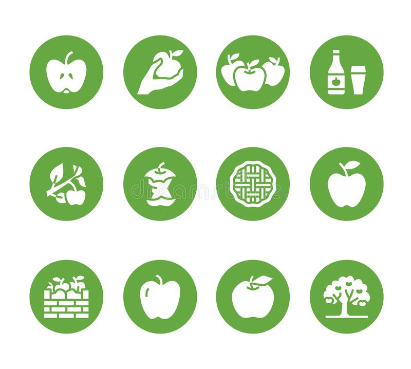 Apples flat glyph icons. Apple picking, autumn harvest festival, craft fruit cider illustrations. Solid silhouette signs vector illustration