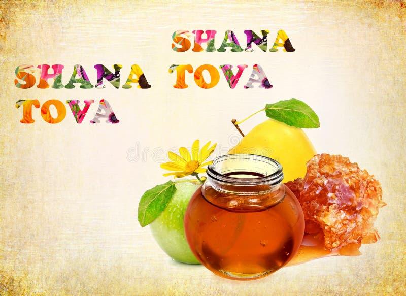 Happy New Year. Apples and honey - Jewish traditional symbol food for holiday Rosh Hashana - Jewish new year. Words Shana Tova - Greeting with Happy New Year in vector illustration