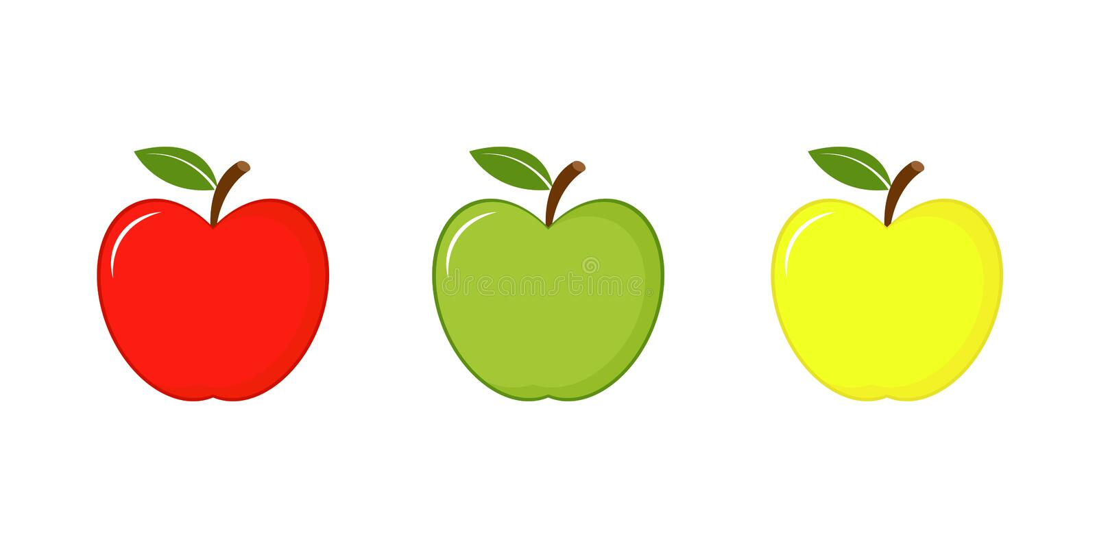 Apples icon red, green and yellow. Vector illustration isolated on white background. Apples red, green and yellow. Vector illustration isolated on white stock illustration