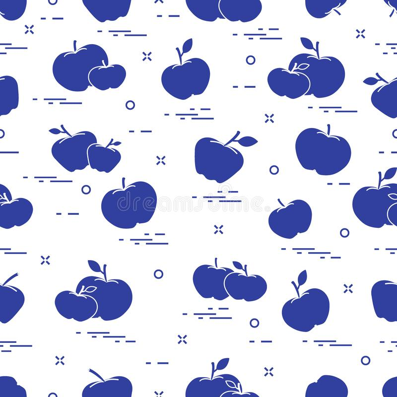 Apples juicy fruit. Seamless pattern. Design for announcement, advertisement, banner or print. Vector. Apples juicy fruit. Seamless pattern. Design for royalty free illustration