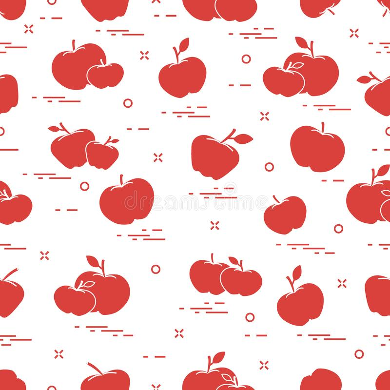 Apples juicy fruit. Seamless pattern vector illustration