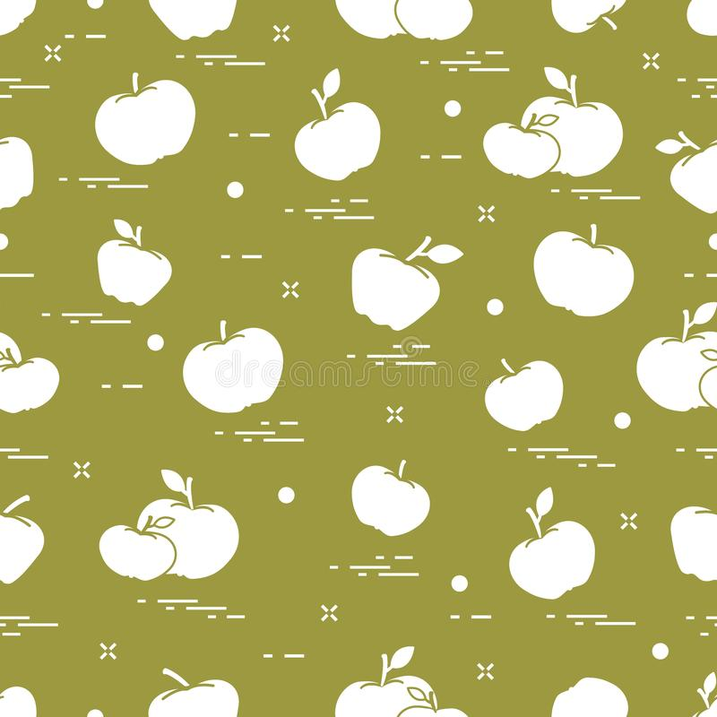 Apples juicy fruit. Seamless pattern. Design for announcement, advertisement, banner or print vector illustration