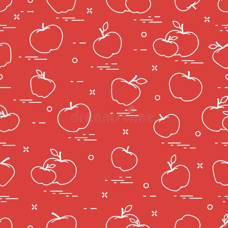 Apples juicy fruit. Seamless pattern stock illustration