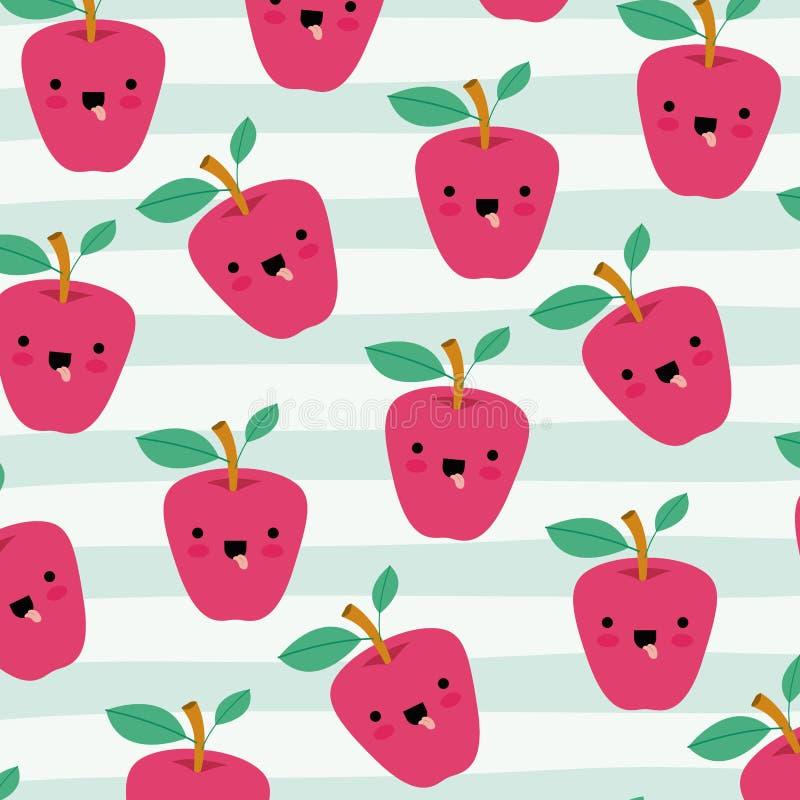 Apples kawaii fruits pattern set on decorative lines color background stock illustration