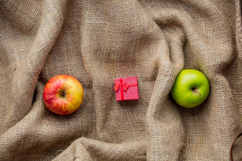 Apples and little gift box stock photo