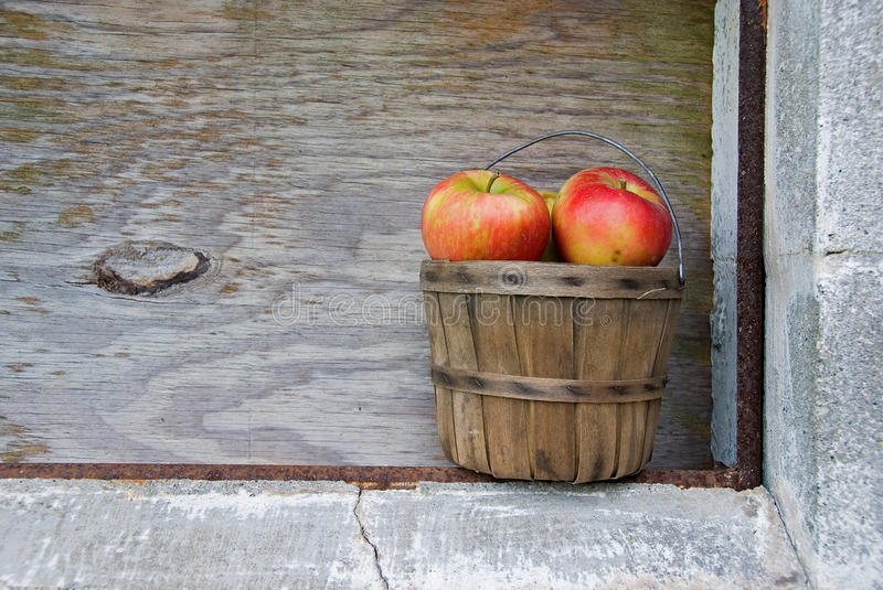 Apples in old basket royalty free stock image