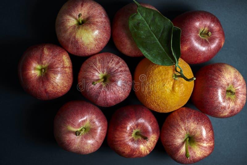 Apples and orange stock image