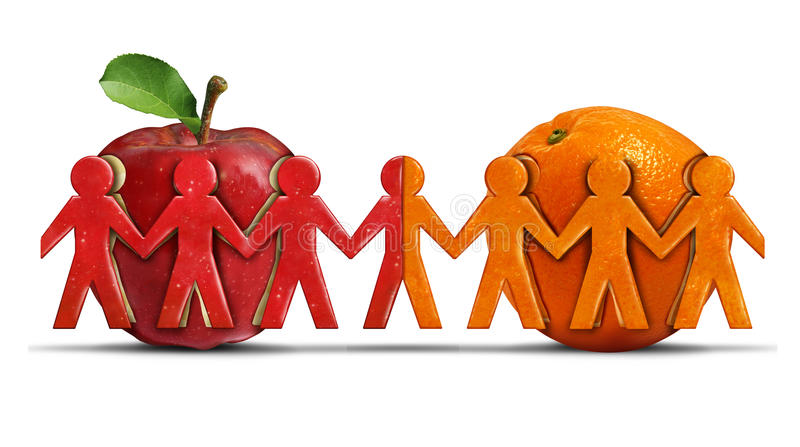 Apples And Oranges. As a tolerance and friendship symbol for two different groups shaped as people icons coming together as a diverse team in a 3D illustration stock illustration