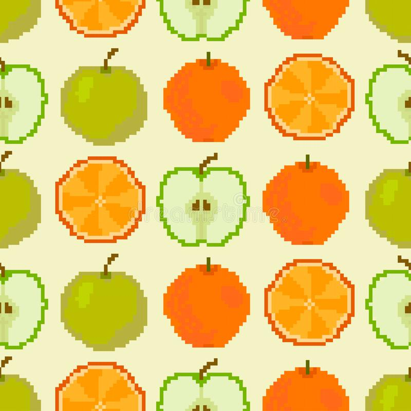 Apples and oranges seamless pattern. Pixel embroidery. Apples and oranges seamless pattern vector illustration