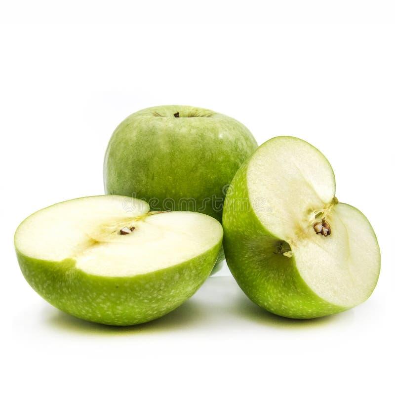 Apples over white stock photos