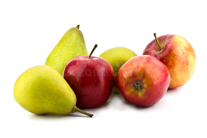Apples and pears. Juicy apples and pears on white stock images