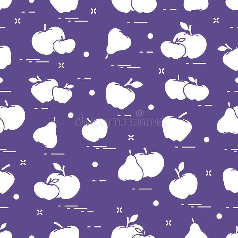 Apples and pears juicy fruit. Seamless pattern. Design for announcement, advertisement, banner or print. Vector. Apples and pears juicy fruit. Seamless pattern vector illustration