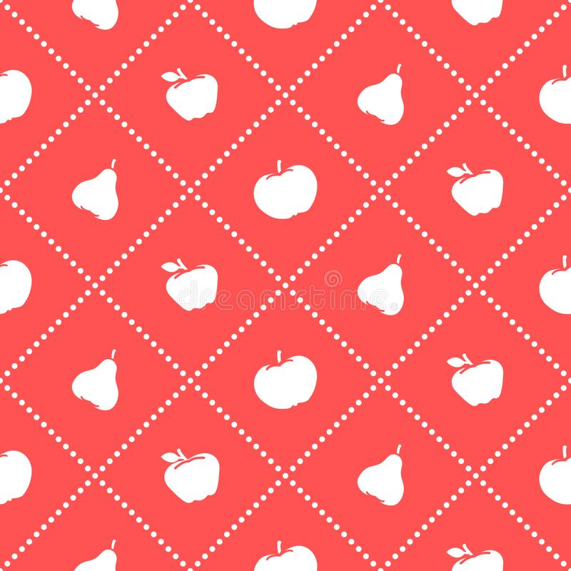Apples and pears juicy fruit. Seamless pattern royalty free illustration