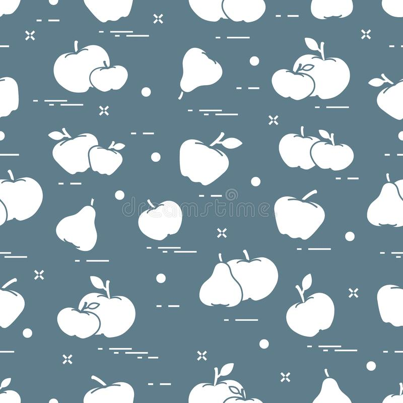 Apples and pears juicy fruit. Seamless pattern stock illustration