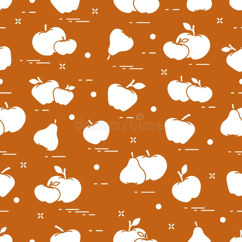 Apples and pears juicy fruit. Seamless pattern vector illustration