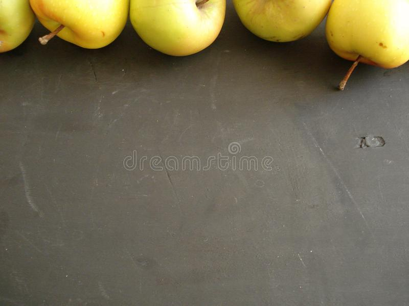 Apples at the top of the frame. royalty free stock photography