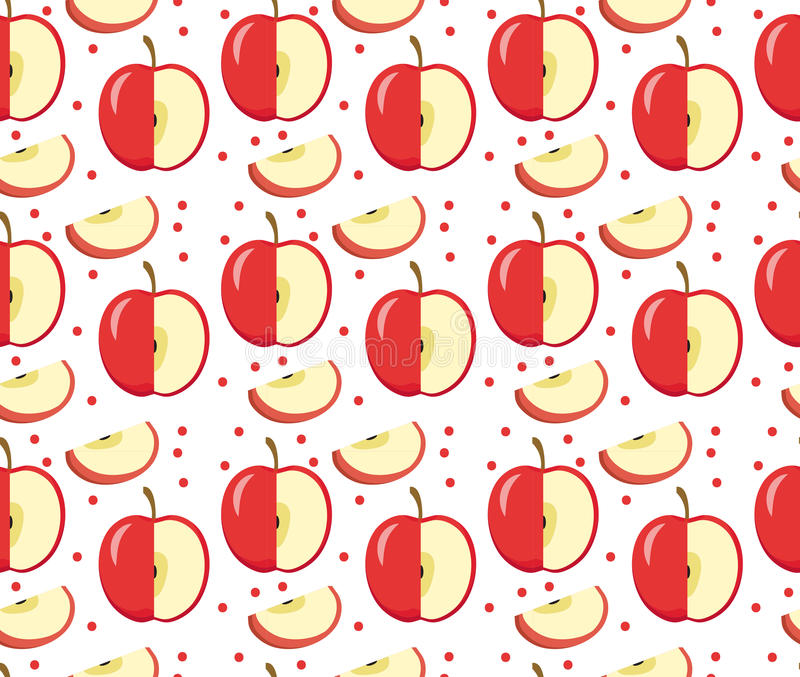 Apples seamless pattern. Red Apple endless background, texture. Fruits . vector illustration