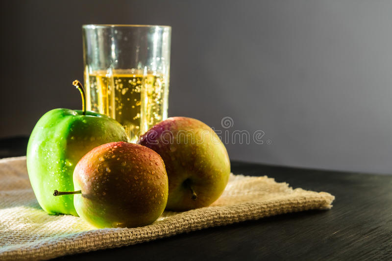 Apples and sparkling apple wine stock photos