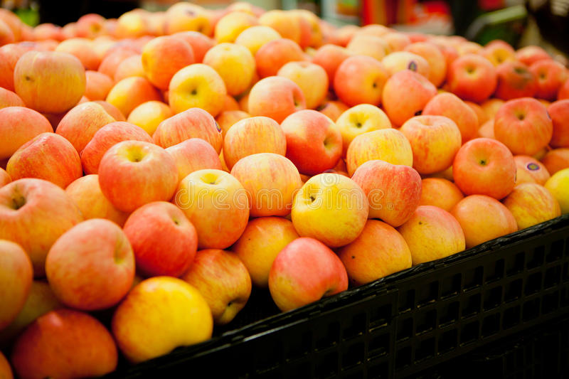 Apples in the supermarket royalty free stock photo