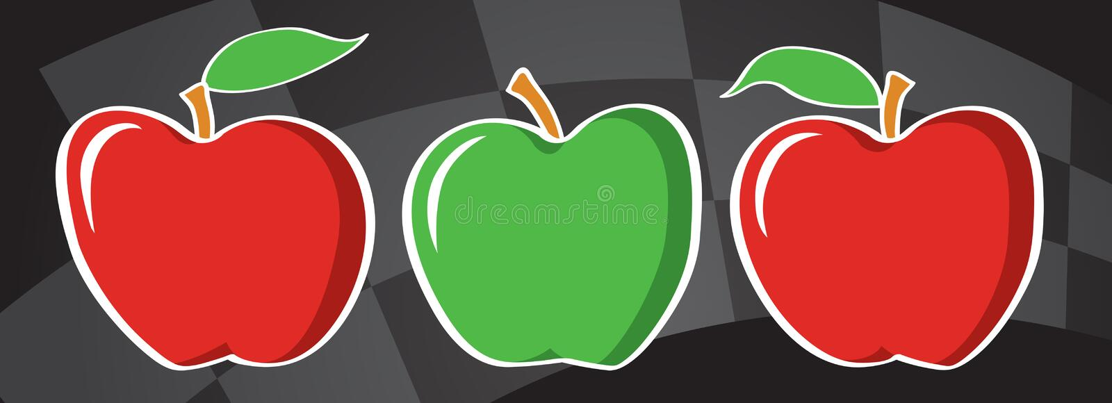 Apples to Apples. Three delicious apples in a row, two are red, one green. A perfect page for an ad background or colorful header. A retro 50s designed, colorful stock illustration