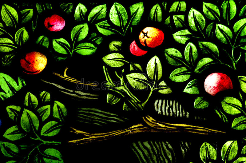 Apples in a tree (stained glass window). A photo of Apples in a tree (stained glass window stock photography